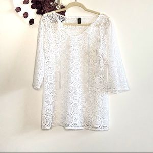 laundry by Shelli Segal White Crochet Cover Up -6